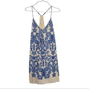 Lavender Brown Blue Paisley Embroidered Midi Dress